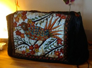 Batik and wool cover for Elna